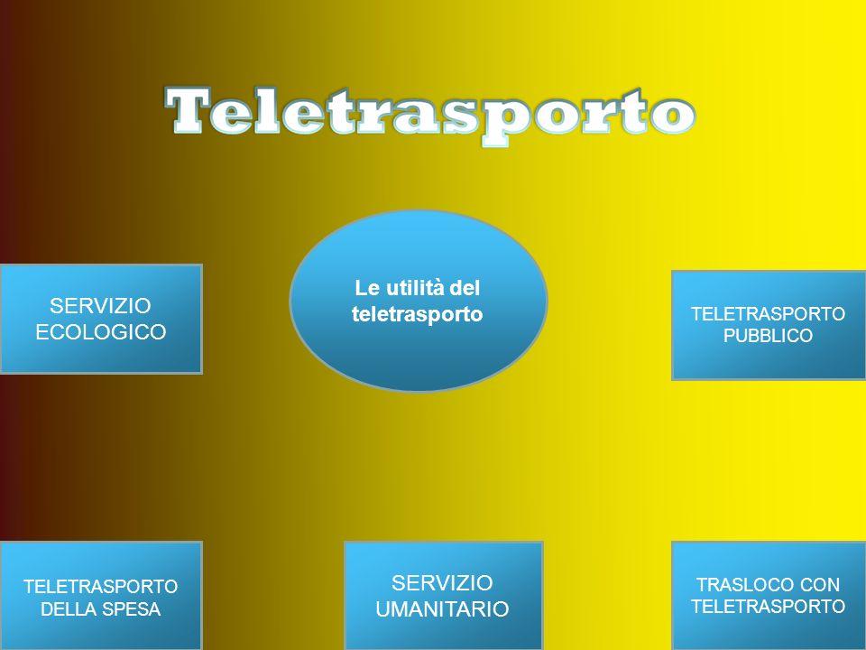 Le utilità del teletrasporto TELETRASPORTO PUBBLICO TELETRASPORTO DELLA SPESA TRASLOCO CON TELETRASPORTO SERVIZIO UMANITARIO SERVIZIO ECOLOGICO