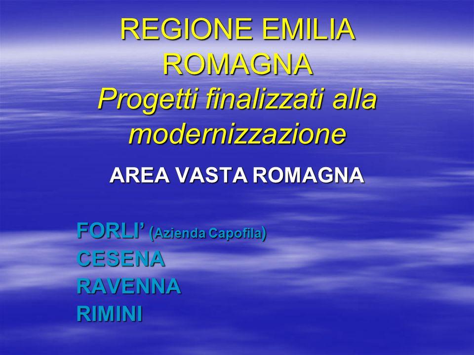 REGIONE EMILIA ROMAGNA Progetti finalizzati alla modernizzazione AREA VASTA ROMAGNA FORLI ( Azienda Capofila ) CESENARAVENNARIMINI