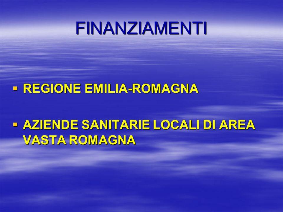 FINANZIAMENTI REGIONE EMILIA-ROMAGNA REGIONE EMILIA-ROMAGNA AZIENDE SANITARIE LOCALI DI AREA VASTA ROMAGNA AZIENDE SANITARIE LOCALI DI AREA VASTA ROMA