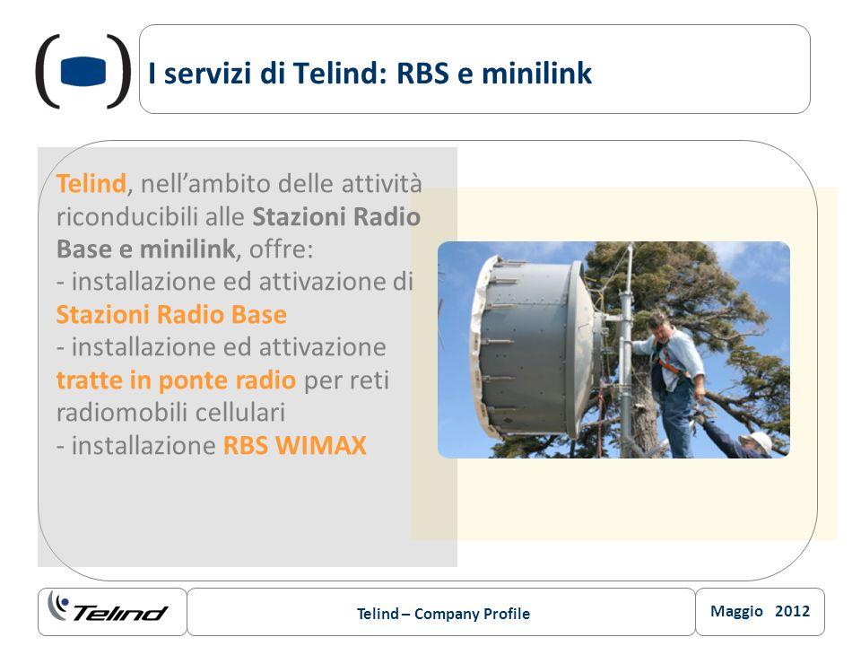Maggio 2012 Telind – Company Profile I servizi di Telind: RBS e minilink Telind, nellambito delle attività riconducibili alle Stazioni Radio Base e mi
