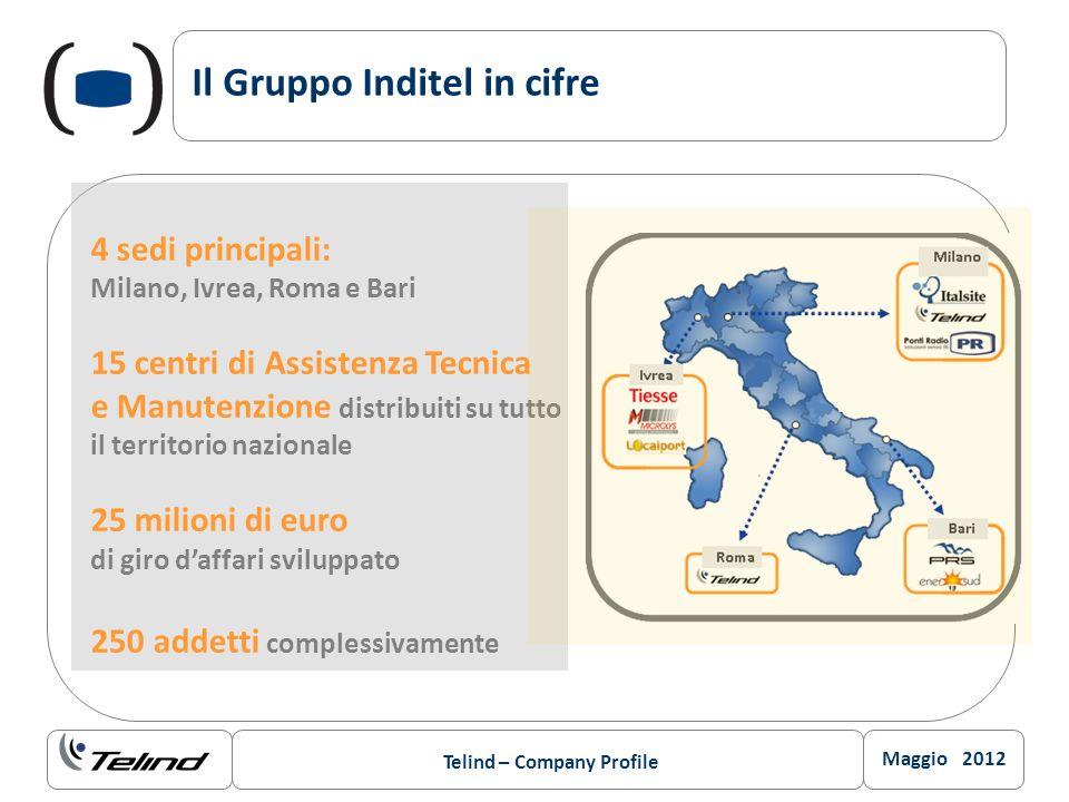 Maggio 2012 Telind – Company Profile Il Gruppo Inditel in cifre 4 sedi principali: Milano, Ivrea, Roma e Bari 15 centri di Assistenza Tecnica e Manute