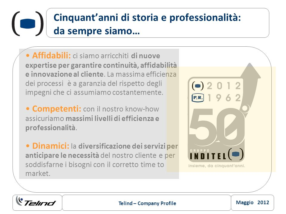 Maggio 2012 Telind – Company Profile Cinquantanni di storia e professionalità: da sempre siamo… Affidabili: ci siamo arricchiti di nuove expertise per