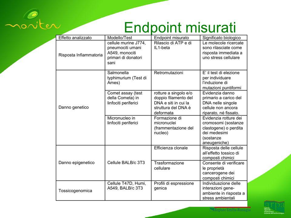Endpoint misurati