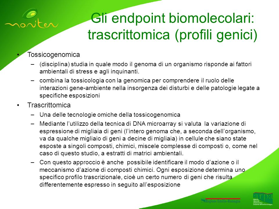 Gli endpoint biomolecolari: trascrittomica (profili genici) Tossicogenomica –(disciplina) studia in quale modo il genoma di un organismo risponde ai fattori ambientali di stress e agli inquinanti.