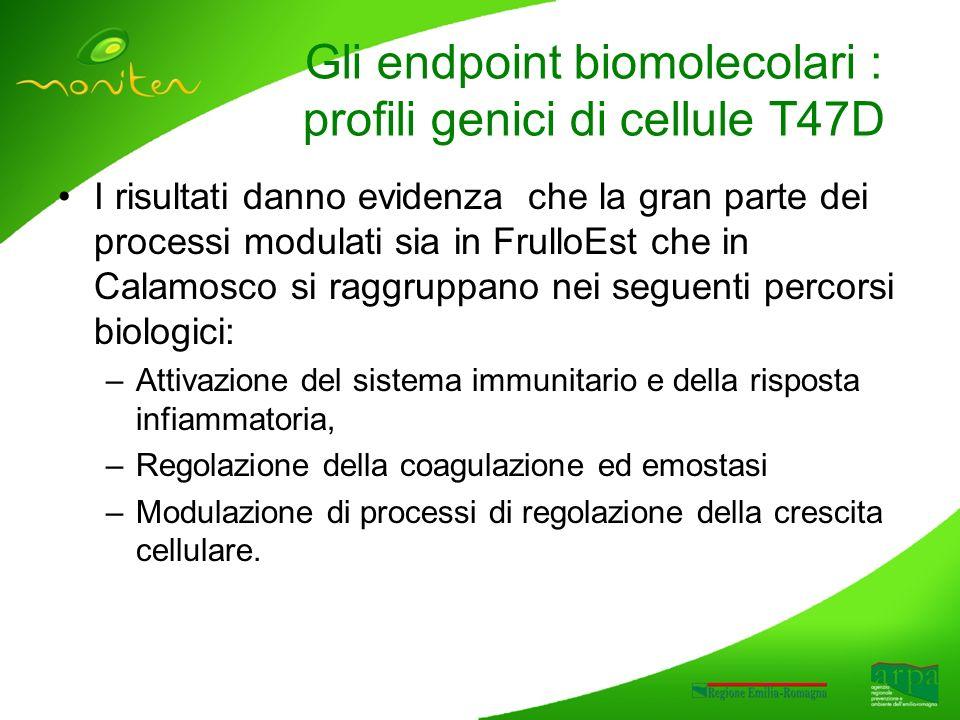 I risultati danno evidenza che la gran parte dei processi modulati sia in FrulloEst che in Calamosco si raggruppano nei seguenti percorsi biologici: –