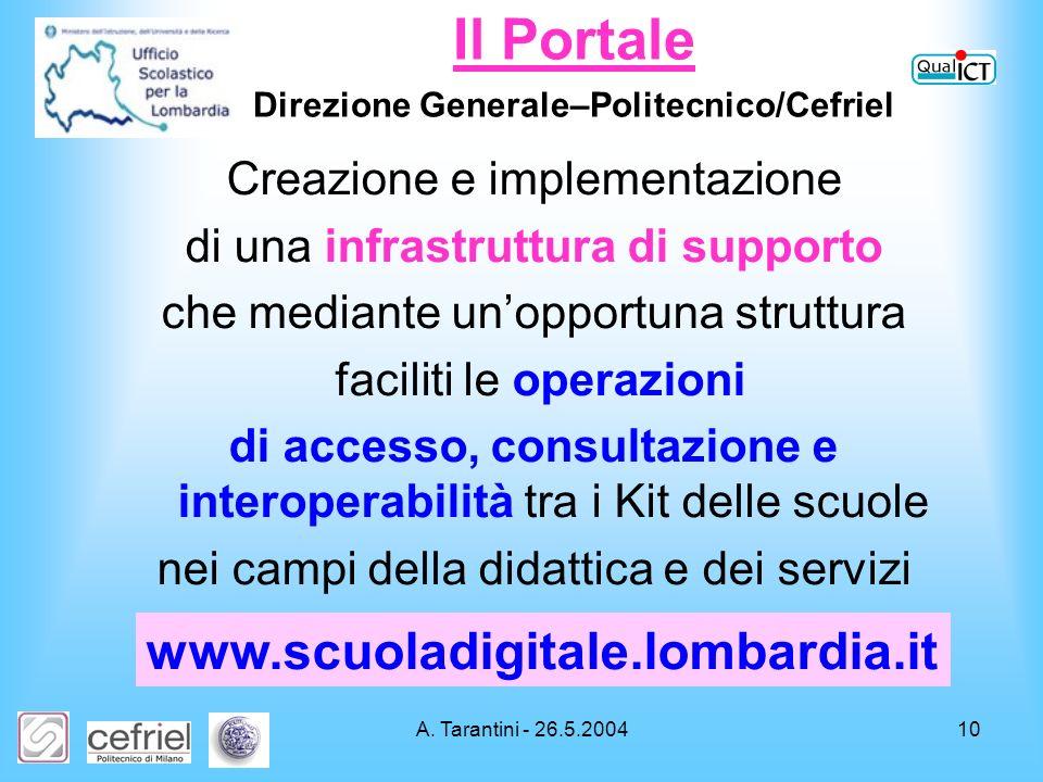 A. Tarantini - 26.5.200410 Creazione e implementazione di una infrastruttura di supporto che mediante unopportuna struttura faciliti le operazioni di