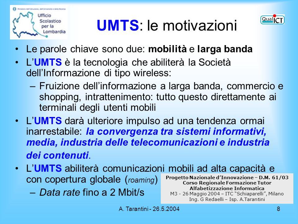 A. Tarantini - 26.5.20048 Le parole chiave sono due: mobilità e larga banda LUMTS è la tecnologia che abiliterà la Società dellInformazione di tipo wi