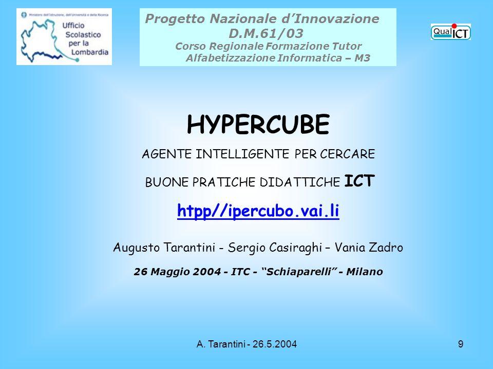 A. Tarantini - 26.5.20049 Progetto Nazionale dInnovazione D.M.61/03 Corso Regionale Formazione Tutor Alfabetizzazione Informatica – M3 HYPERCUBE AGENT