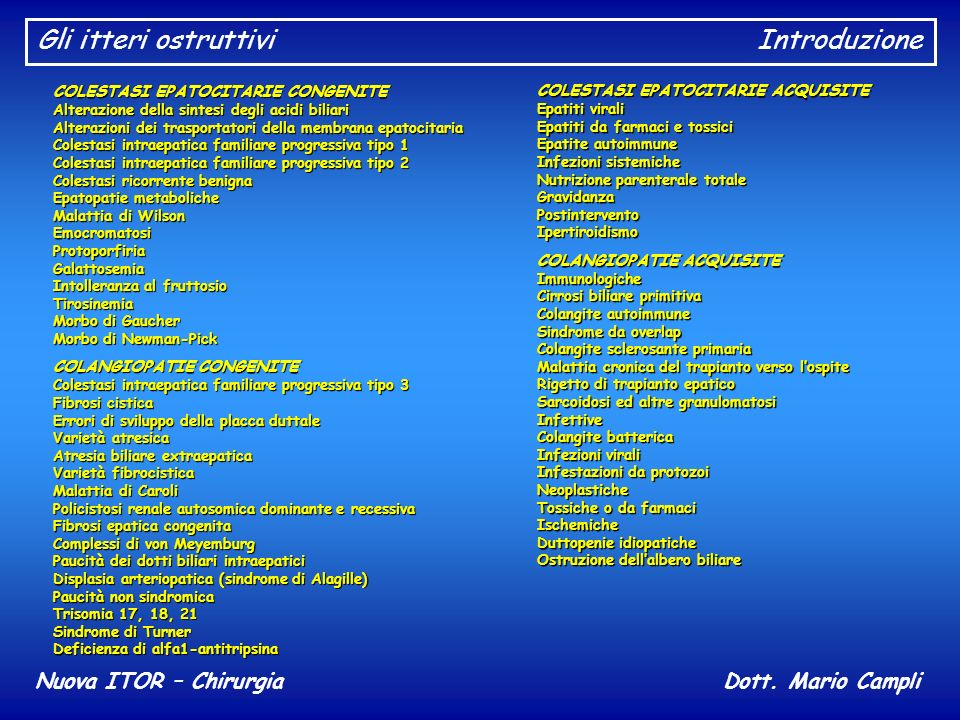 Gli itteri ostruttiviIntroduzione Nuova ITOR – ChirurgiaDott. Mario Campli COLESTASI EPATOCITARIE CONGENITE Alterazione della sintesi degli acidi bili