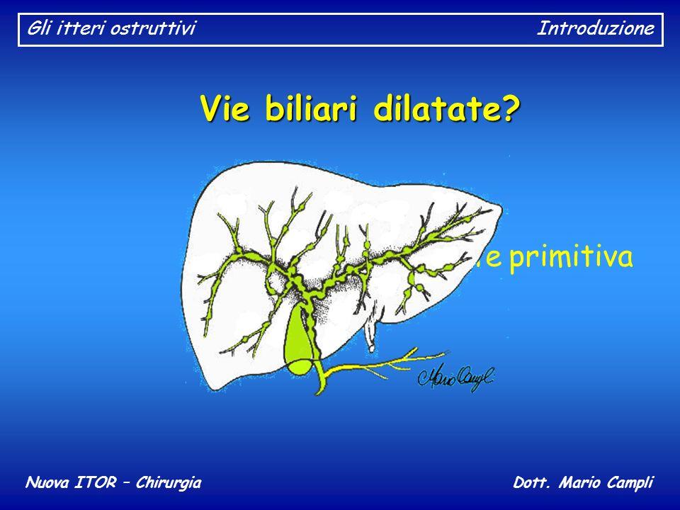 Gli itteri ostruttiviIntroduzione Nuova ITOR – ChirurgiaDott. Mario Campli Vie biliari dilatate? Colangite sclerosante primitiva