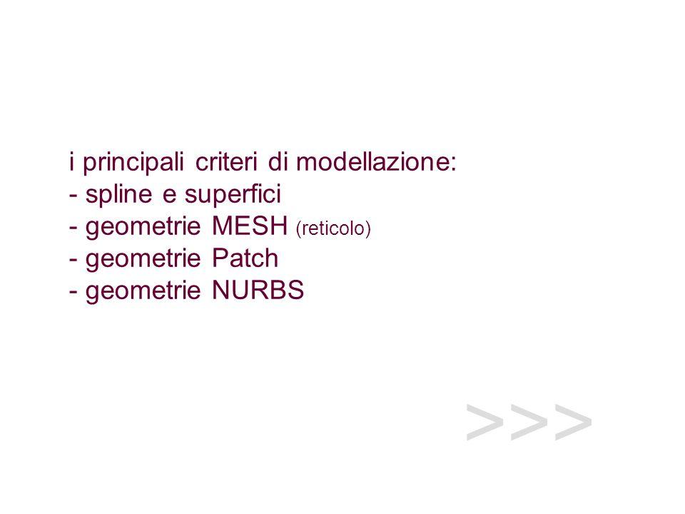 >>> i principali criteri di modellazione: - spline e superfici - geometrie MESH (reticolo) - geometrie Patch - geometrie NURBS