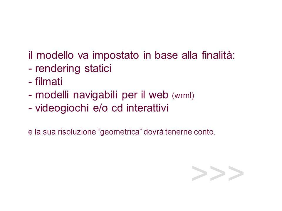 >>> il modello va impostato in base alla finalità: - rendering statici - filmati - modelli navigabili per il web (wrml) - videogiochi e/o cd interattivi e la sua risoluzione geometrica dovrà tenerne conto.