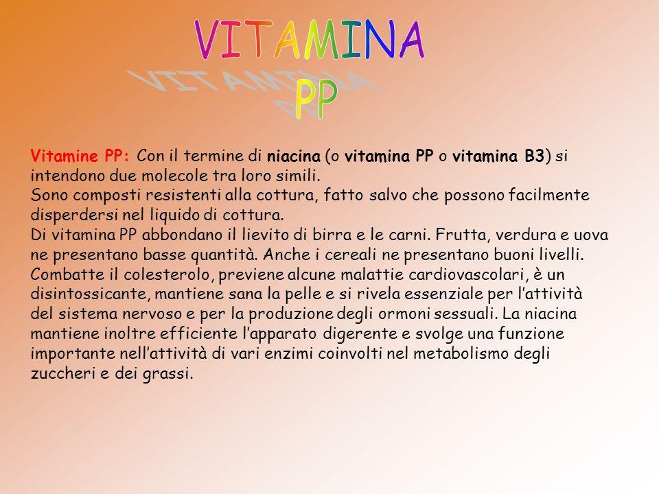 Vitamine PP: Con il termine di niacina (o vitamina PP o vitamina B3) si intendono due molecole tra loro simili.