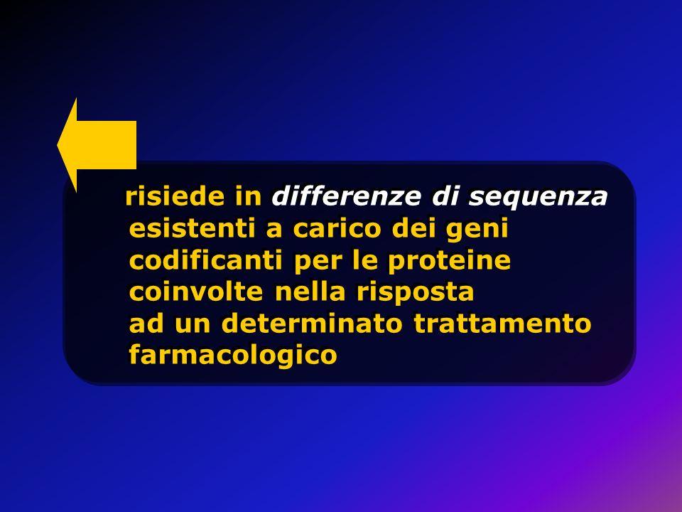 risiede in differenze di sequenza esistenti a carico dei geni codificanti per le proteine coinvolte nella risposta ad un determinato trattamento farma