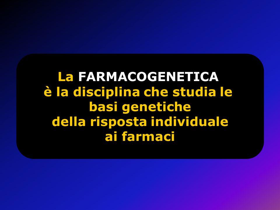La FARMACOGENETICA è la disciplina che studia le basi genetiche della risposta individuale ai farmaci