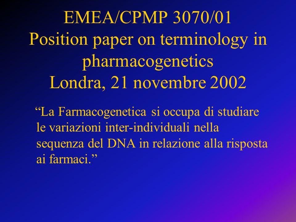 EMEA/CPMP 3070/01 Position paper on terminology in pharmacogenetics Londra, 21 novembre 2002 La Farmacogenetica si occupa di studiare le variazioni in