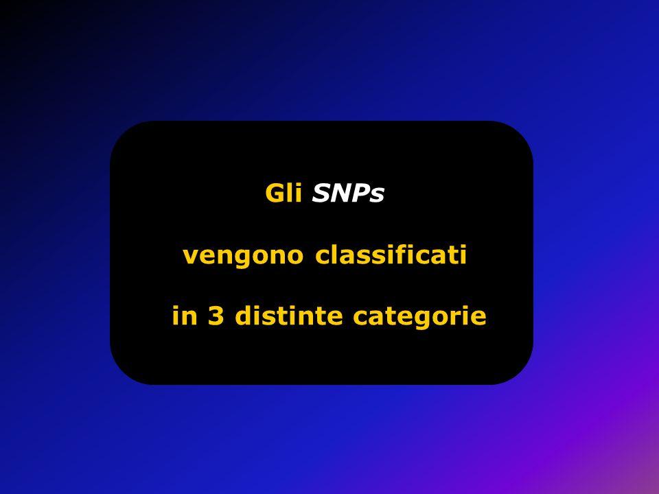Gli SNPs vengono classificati in 3 distinte categorie