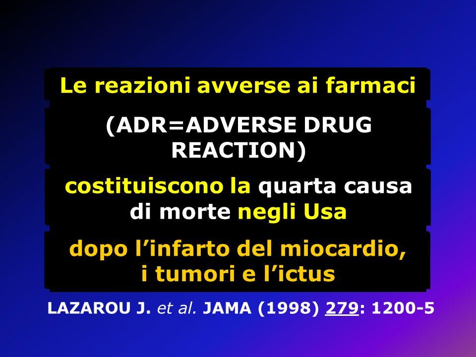 dopo linfarto del miocardio, i tumori e lictus Le reazioni avverse ai farmaci (ADR=ADVERSE DRUG REACTION) costituiscono la quarta causa di morte negli