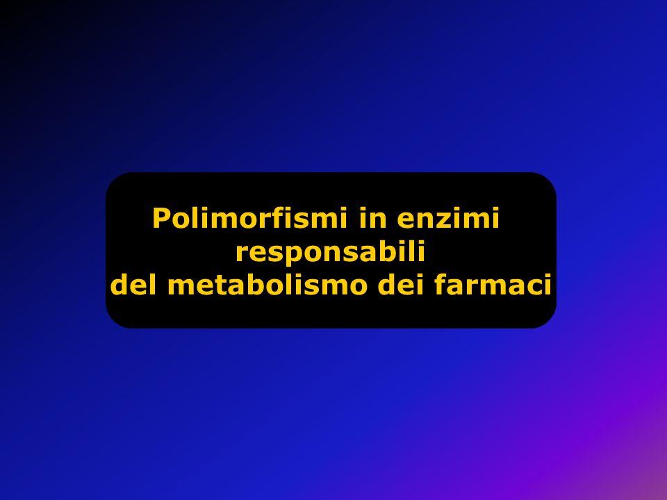 Polimorfismi in enzimi responsabili del metabolismo dei farmaci