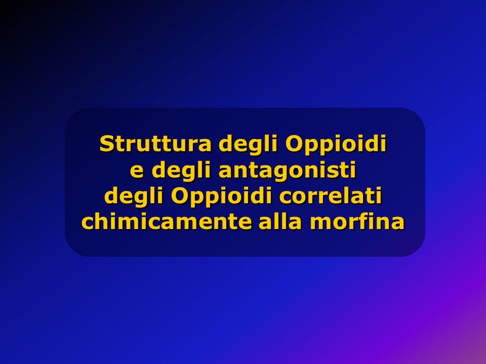 Struttura degli Oppioidi e degli antagonisti degli Oppioidi correlati chimicamente alla morfina