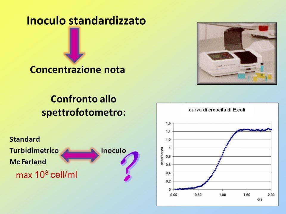 Inoculo standardizzato Come si ottiene Inoculare una colonia singola in 20mL di LB broth incubare in agitazione o/n a 37°C Trasferire unaliquota della brodocoltura o/n in LB broth sterile in beuta, effettuando una diluizione 1:100 (es.