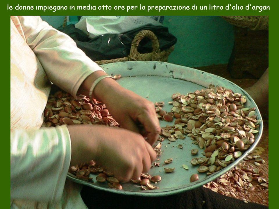 le donne impiegano in media otto ore per la preparazione di un litro d'olio d'argan