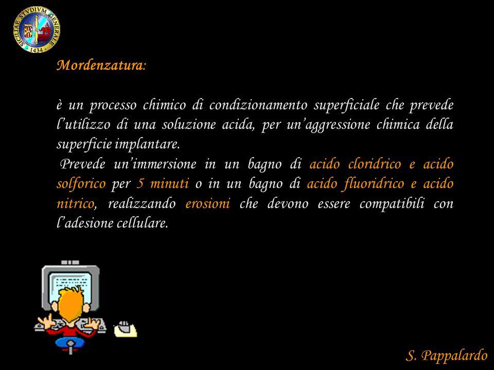 Mordenzatura: è un processo chimico di condizionamento superficiale che prevede lutilizzo di una soluzione acida, per unaggressione chimica della superficie implantare.