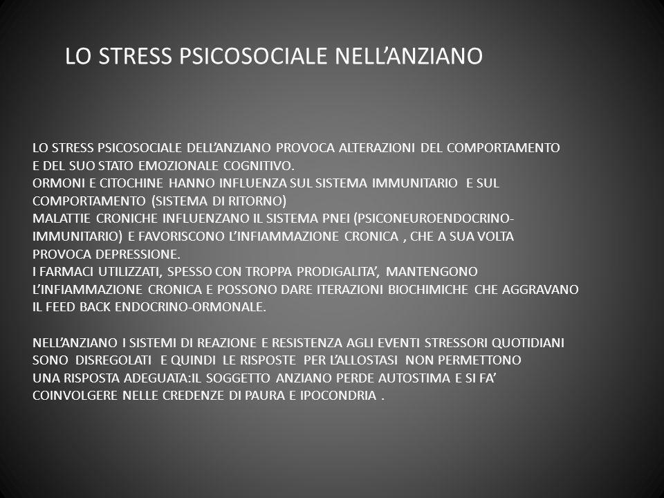 LO STRESS PSICOSOCIALE NELLANZIANO LO STRESS PSICOSOCIALE DELLANZIANO PROVOCA ALTERAZIONI DEL COMPORTAMENTO E DEL SUO STATO EMOZIONALE COGNITIVO. ORMO