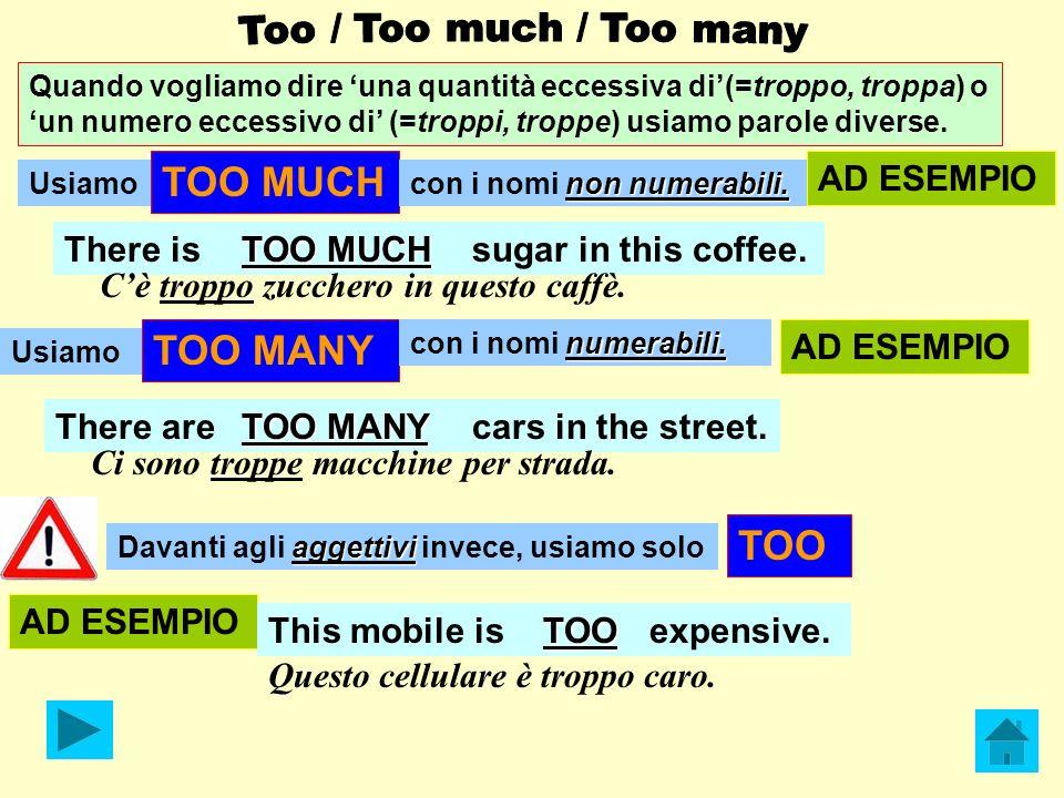 Quando vogliamo dire una quantità eccessiva di(=troppo, troppa) o un numero eccessivo di (=troppi, troppe) usiamo parole diverse. Usiamo TOO MUCH non