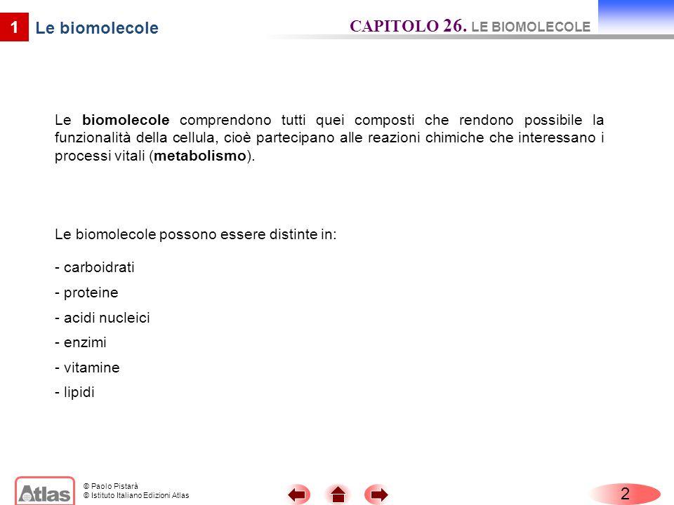 © Paolo Pistarà © Istituto Italiano Edizioni Atlas Le biomolecole comprendono tutti quei composti che rendono possibile la funzionalità della cellula,