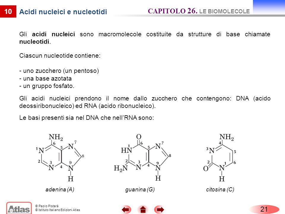 © Paolo Pistarà © Istituto Italiano Edizioni Atlas 10 Acidi nucleici e nucleotidi Gli acidi nucleici sono macromolecole costituite da strutture di bas