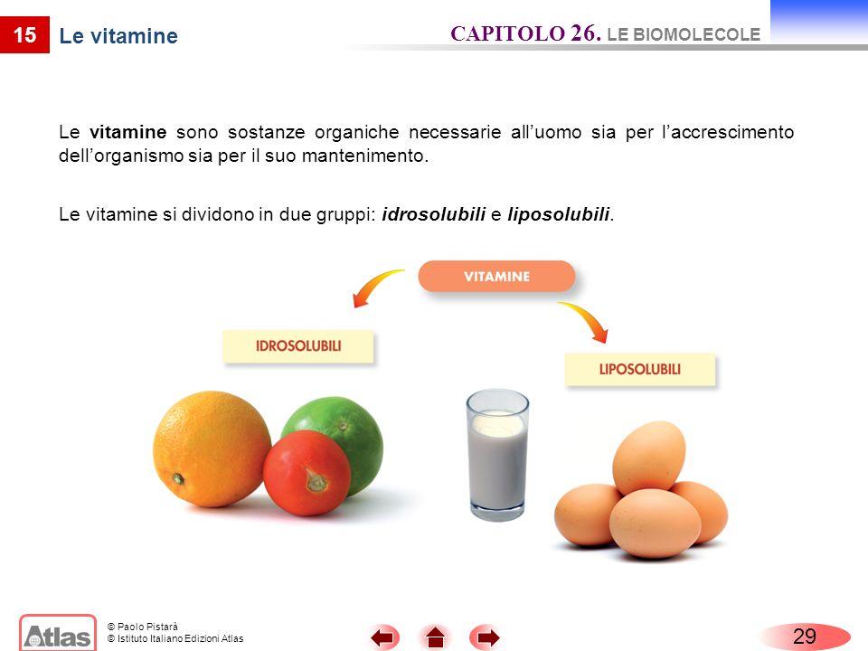© Paolo Pistarà © Istituto Italiano Edizioni Atlas 15 Le vitamine Le vitamine sono sostanze organiche necessarie alluomo sia per laccrescimento dellor