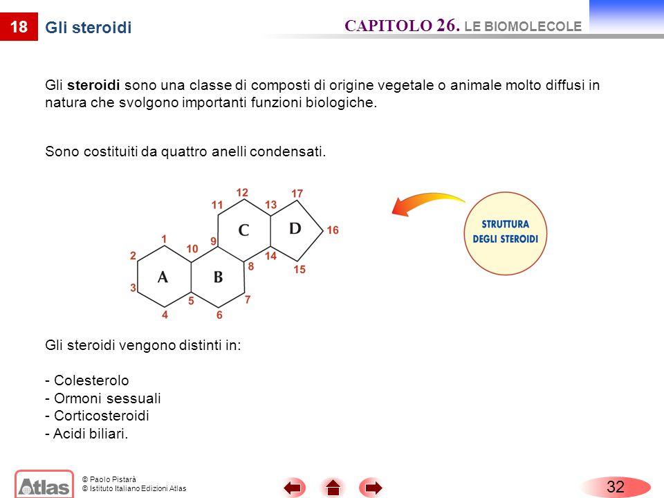 © Paolo Pistarà © Istituto Italiano Edizioni Atlas 18 Gli steroidi Gli steroidi sono una classe di composti di origine vegetale o animale molto diffus
