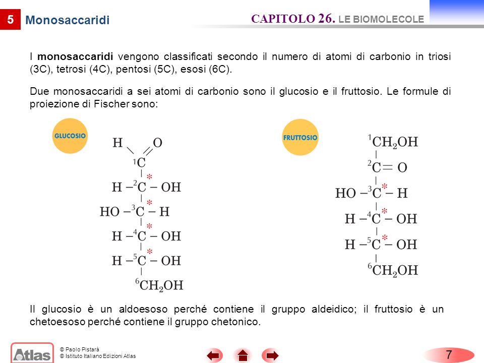 © Paolo Pistarà © Istituto Italiano Edizioni Atlas 5 Monosaccaridi Le molecole dei monosaccaridi contengono atomi di carbonio chirale e, quindi, possono esistere in forme enantiomere.