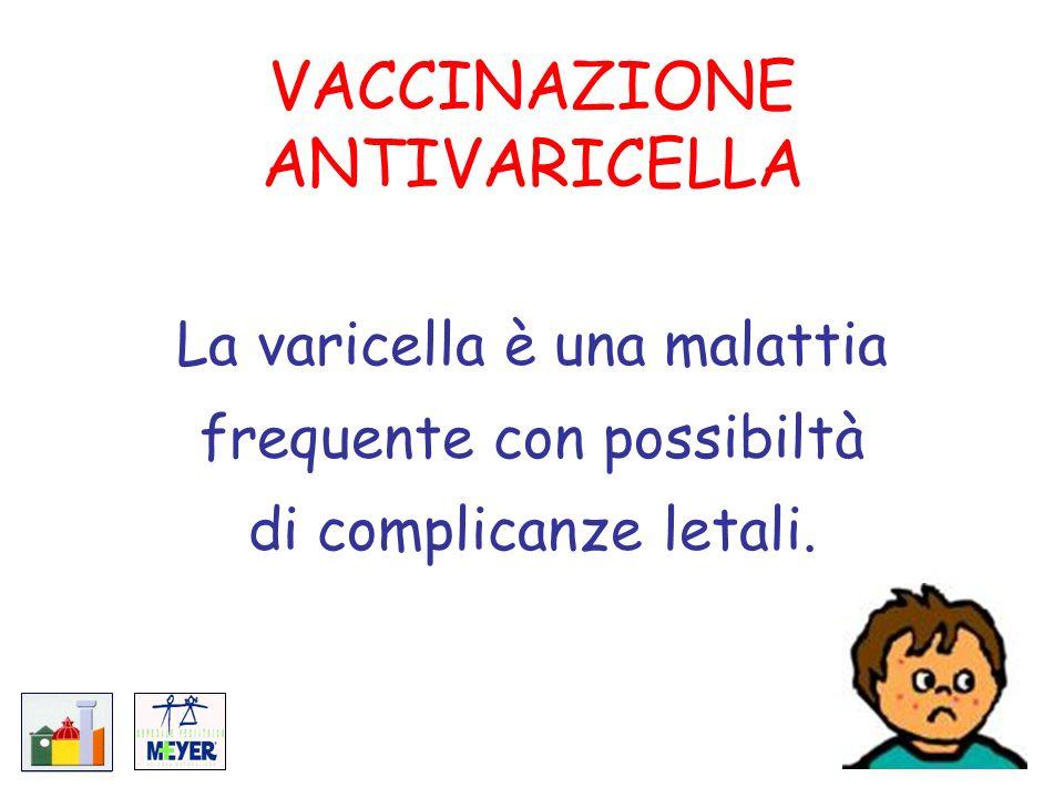 VACCINAZIONE ANTIVARICELLA La varicella è una malattia frequente con possibiltà di complicanze letali.