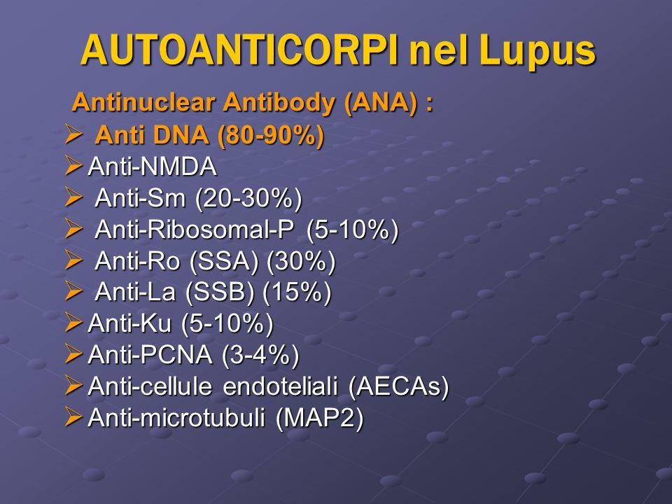AUTOANTICORPI nel Lupus Antinuclear Antibody (ANA) : Antinuclear Antibody (ANA) : Anti DNA (80-90%) Anti DNA (80-90%) Anti-NMDA Anti-NMDA Anti-Sm (20-