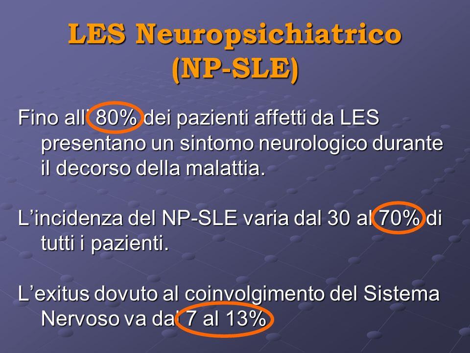 LES Neuropsichiatrico (NP-SLE) Fino all 80% dei pazienti affetti da LES presentano un sintomo neurologico durante il decorso della malattia. Lincidenz