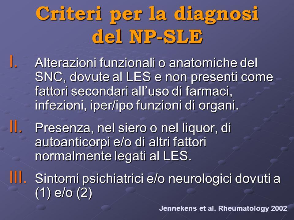 Criteri per la diagnosi del NP-SLE I. Alterazioni funzionali o anatomiche del SNC, dovute al LES e non presenti come fattori secondari alluso di farma