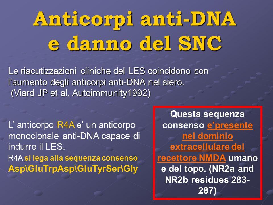 Anticorpi anti-DNA e danno del SNC Le riacutizzazioni cliniche del LES coincidono con laumento degli anticorpi anti-DNA nel siero. (Viard JP et al. Au