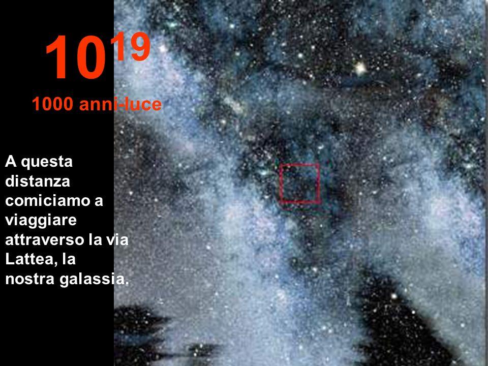 10 19 1000 anni-luce A questa distanza comiciamo a viaggiare attraverso la via Lattea, la nostra galassia.