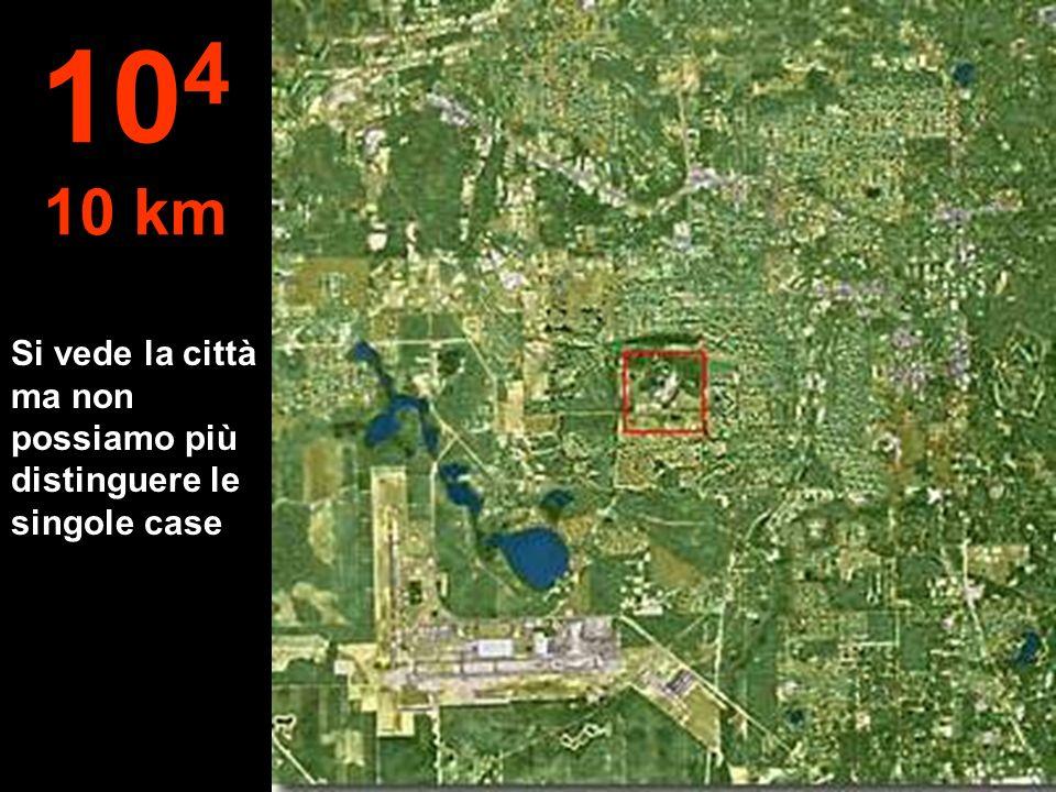 Si vede la città ma non possiamo più distinguere le singole case 10 4 10 km