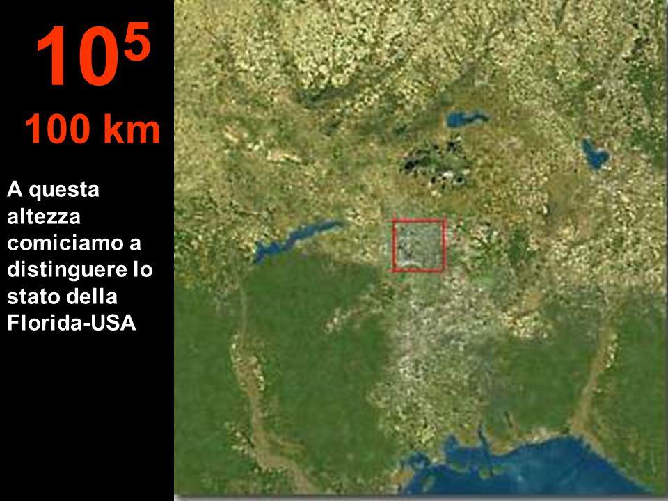 A questa altezza comiciamo a distinguere lo stato della Florida-USA 10 5 100 km