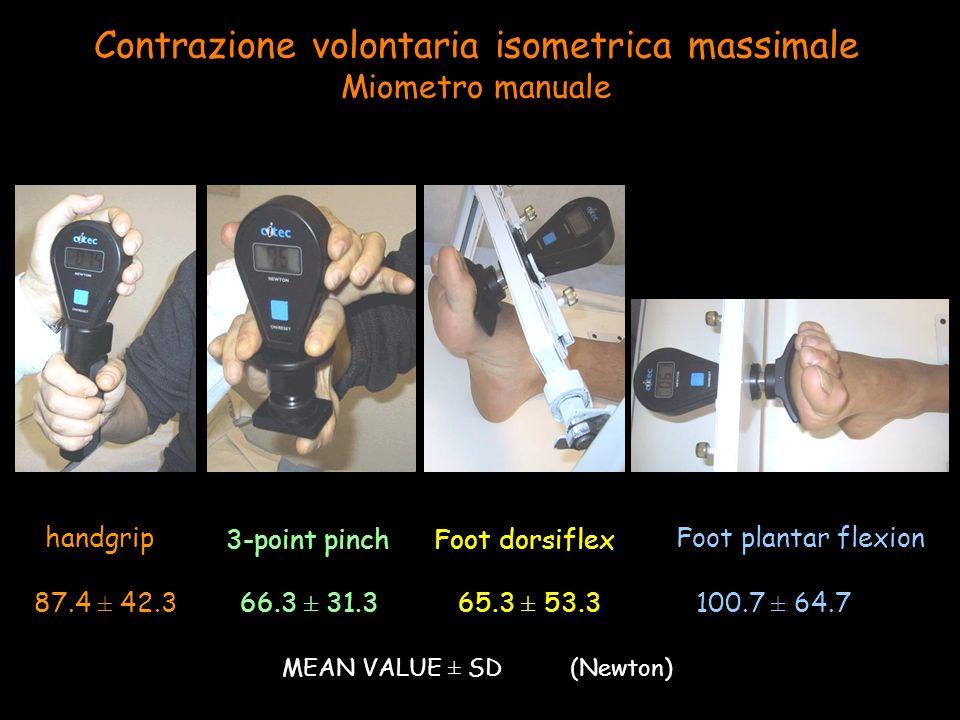 handgrip 3-point pinch Foot plantar flexion Contrazione volontaria isometrica massimale Miometro manuale Foot dorsiflex 87.4 ± 42.3 66.3 ± 31.3 65.3 ± 53.3 100.7 ± 64.7 MEAN VALUE ± SD (Newton)