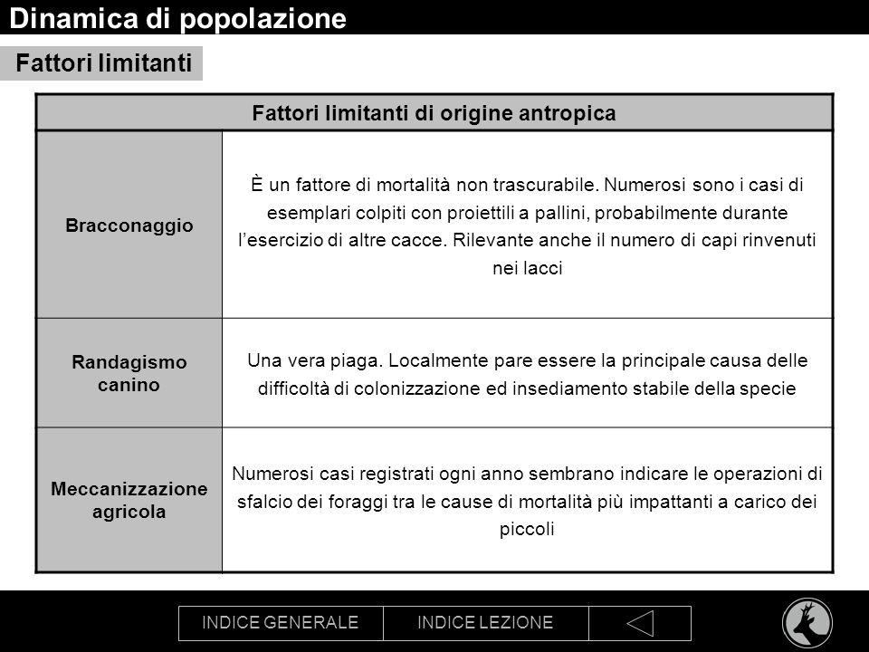 INDICE GENERALEINDICE LEZIONE Dinamica di popolazione Fattori limitanti Fattori limitanti di origine antropica Bracconaggio È un fattore di mortalità