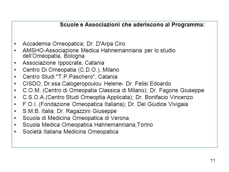11 Scuole e Associazioni che aderiscono al Programma: Accademia Omeopatica; Dr.