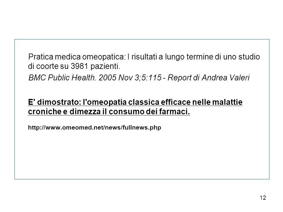 12 Pratica medica omeopatica: I risultati a lungo termine di uno studio di coorte su 3981 pazienti.