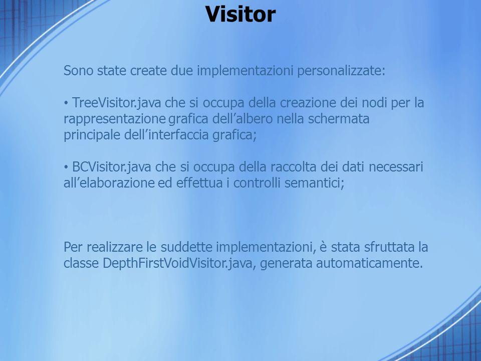 Visitor Sono state create due implementazioni personalizzate: TreeVisitor.java che si occupa della creazione dei nodi per la rappresentazione grafica dellalbero nella schermata principale dellinterfaccia grafica; BCVisitor.java che si occupa della raccolta dei dati necessari allelaborazione ed effettua i controlli semantici; Per realizzare le suddette implementazioni, è stata sfruttata la classe DepthFirstVoidVisitor.java, generata automaticamente.