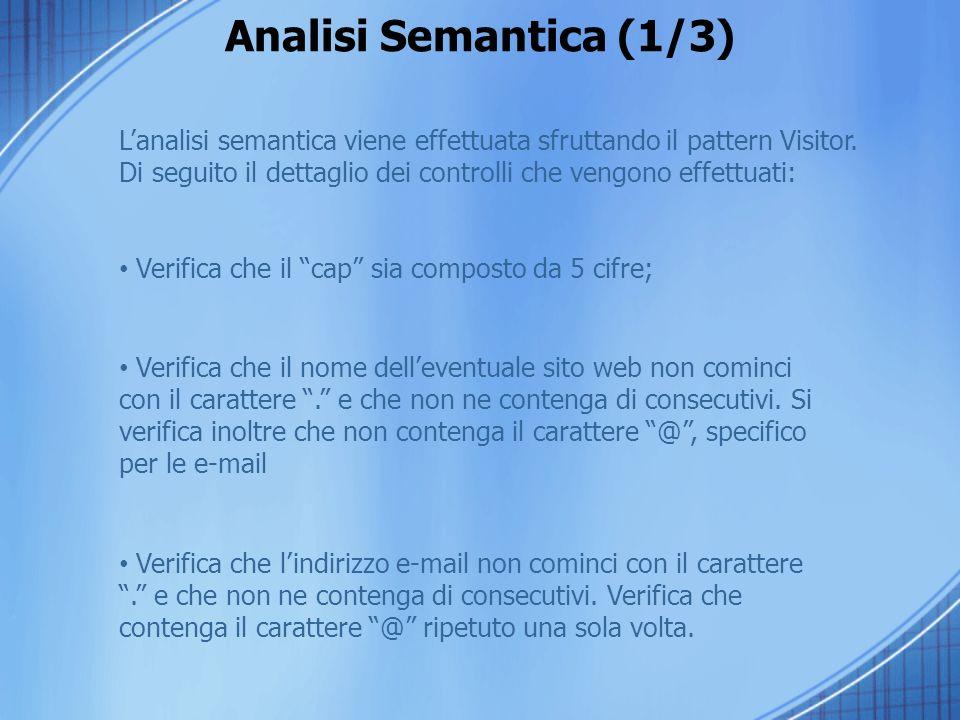 Analisi Semantica (1/3) Lanalisi semantica viene effettuata sfruttando il pattern Visitor. Di seguito il dettaglio dei controlli che vengono effettuat