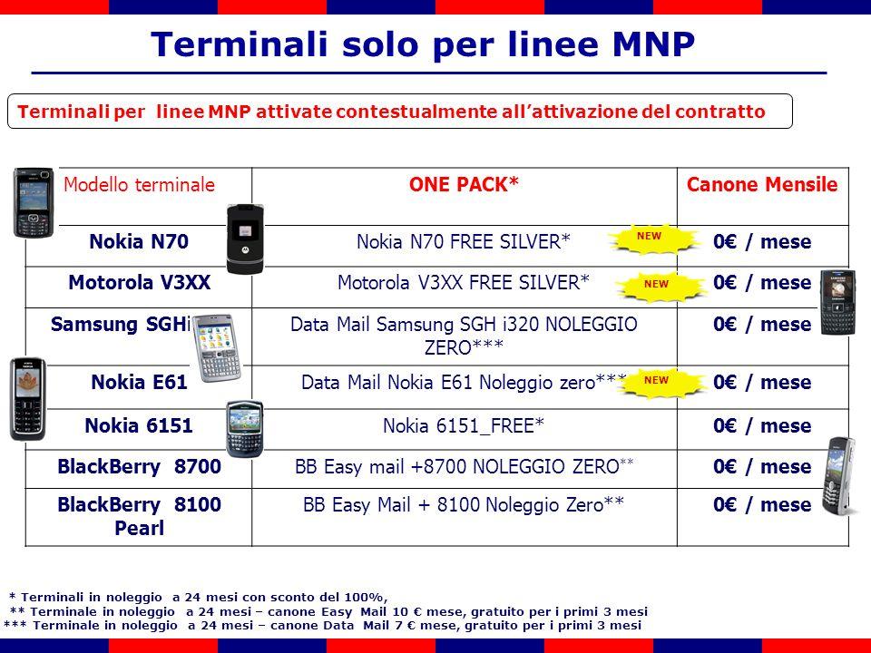 Terminali per linee MNP attivate contestualmente allattivazione del contratto * Terminali in noleggio a 24 mesi con sconto del 100%, ** Terminale in noleggio a 24 mesi – canone Easy Mail 10 mese, gratuito per i primi 3 mesi *** Terminale in noleggio a 24 mesi – canone Data Mail 7 mese, gratuito per i primi 3 mesi Terminali solo per linee MNP Modello terminaleONE PACK*Canone Mensile Nokia N70Nokia N70 FREE SILVER*0 / mese Motorola V3XXMotorola V3XX FREE SILVER*0 / mese Samsung SGHi320Data Mail Samsung SGH i320 NOLEGGIO ZERO*** 0 / mese Nokia E61Data Mail Nokia E61 Noleggio zero***0 / mese Nokia 6151Nokia 6151_FREE*0 / mese BlackBerry 8700BB Easy mail +8700 NOLEGGIO ZERO ** 0 / mese BlackBerry 8100 Pearl BB Easy Mail + 8100 Noleggio Zero**0 / mese NEW
