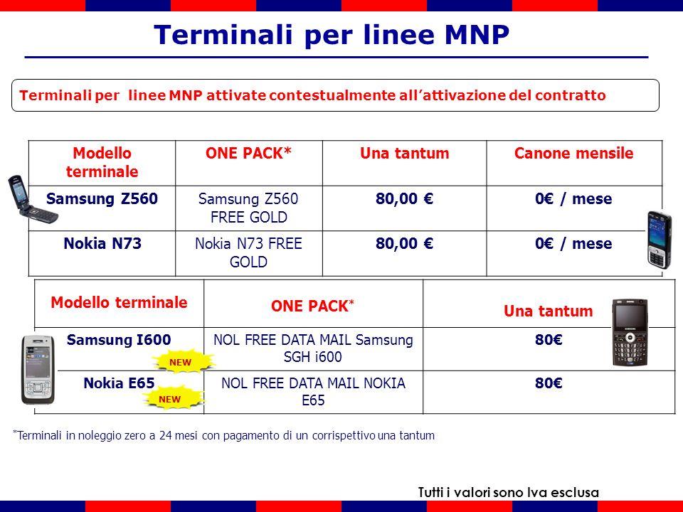 Terminali per linee MNP attivate contestualmente allattivazione del contratto Terminali per linee MNP Tutti i valori sono Iva esclusa * Terminali in noleggio zero a 24 mesi con pagamento di un corrispettivo una tantum Modello terminale ONE PACK*Una tantumCanone mensile Samsung Z560Samsung Z560 FREE GOLD 80,00 0 / mese Nokia N73Nokia N73 FREE GOLD 80,00 0 / mese Modello terminale ONE PACK * Una tantum Samsung I600NOL FREE DATA MAIL Samsung SGH i600 80 Nokia E65NOL FREE DATA MAIL NOKIA E65 80 NEW